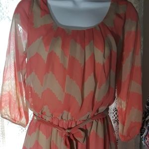 Lily Rose Peach Chevron Sheer W Lining Dress sz S